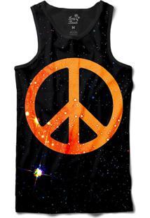 Camiseta Regata Long Beach Psicodélica Paz E Amor Sublimada Preto