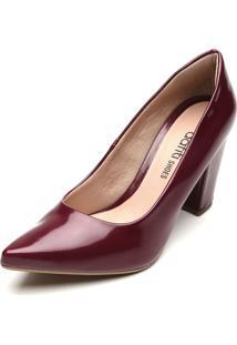 Scarpin Dafiti Shoes Verniz Vinho - Vinho - Feminino - Dafiti