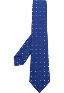 Kiton Gravata De Seda Estampada - Azul