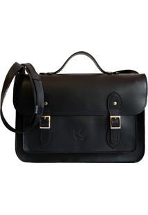 Bolsa Line Store Leather Satchel Grande Couro Preto Premium