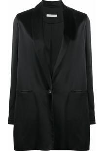 La Collection Blazer Amandine De Seda Com Abotoamento Simples - Preto