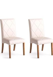 Conjunto Com 2 Cadeiras De Jantar Bali Ii Branco E Castanho