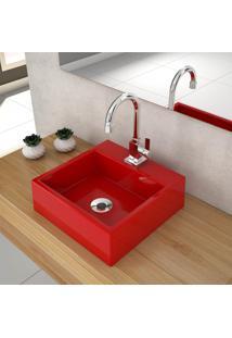 Cuba De Apoio Para Banheiro Compace Q355W Quadrada Vermelha