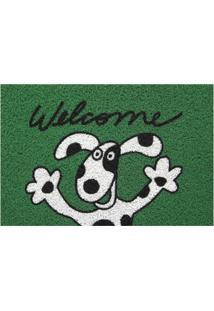 Capacho Super Print Welcome Dog Verde 40X60Cm