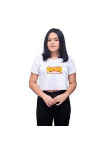 Blusa Feminina Cropped Personalizado Thrasher Lançamento - Branco