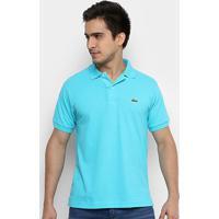 e1318f77122 Camisa Polo Lacoste Piquet Original Fit Masculina - Masculino-Azul Claro+ Azul