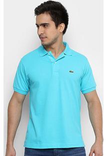 Camisa Polo Lacoste Piquet Original Fit Masculina - Masculino-Azul Claro+Azul