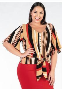 Blusa Plus Size Listrada Coloridas Com Amarração