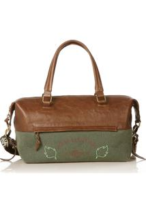 Bolsa Blue Bags Bowling Verde Bordado Terra - Cafã©/Verde Militar - Feminino - Dafiti