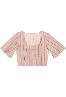 Blusa Cropped Estampada Em Tecido De Viscose Com Decote Quadrado