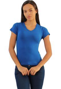 Camiseta Versatti Básica Gola V Azul