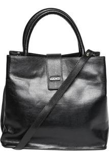 Bolsa Em Couro Texturizada - Preta - 32X29X16Cmiã³Dice