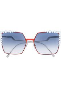 Fendi Eyewear Óculos De Sol Com Aplicações - Metálico