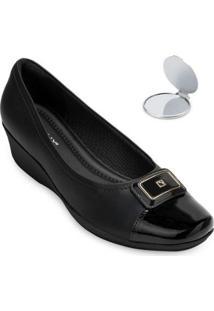 Sapato Anabela Piccadilly E Espelho Pd20-1440 - Feminino-Preto