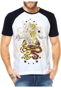 Camiseta Raglan Criativa Urbana Sereia E Serpentes Náutico Branco