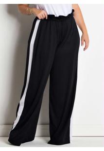 Calça Pantalona Plus Size Preta E Branca