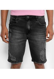 Bermuda Jeans Dimy Brad Masculina - Masculino-Preto