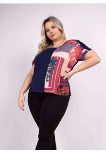 Blusa Recortes Almaria Plus Size Peri Roxo