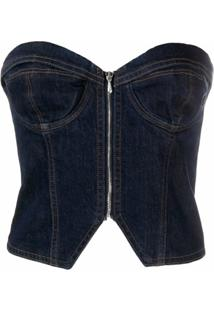 Katharine Hamnett London Blusa Jeans Com Corset - Azul