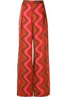 Andrea Marques Calça Pantalona De Seda Estampada - Vermelho