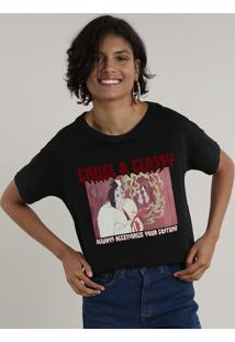 Blusa Feminina Cruella Manga Curta Decote Redondo Preta