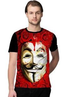 Camiseta Stompy Roses Mask Masculino - Masculino-Preto+Vermelho
