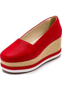 Sapato Anabela Dia A Dia Gisela Costa Vermelho - Tricae
