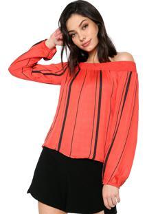 Blusa Cativa Ombro A Ombro Listrada Vermelha/Preta