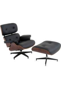 Poltrona Charles Eames Preta Com Puff Rivatti Móveis