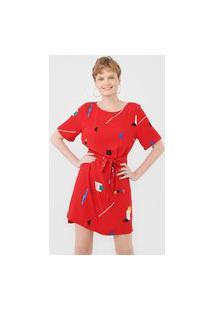 Vestido Cantão Curto Bauhaus Vermelho