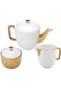 Jogo Para Chá Wolff Vera Gold 3 Peças Porcelana Branco E Dourado