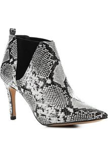 Bota Cano Curto Shoestock Salto Fino Snake Feminina - Feminino-Preto+Branco