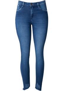 Calça Dudalina Jeans Cigarrete Blue Barra Destroyed Feminina (Jeans Medio, 34)