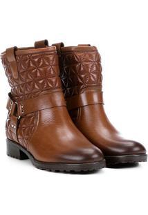 Bota Biker Shoestock Matelassê Feminina - Feminino-Marrom