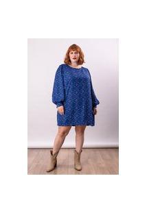 Vestido Curto Almaria Plus Size Lady More Estampa Liberty Azul