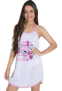 Camisola Linha Noite Estampada Branca/Rosa