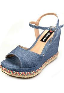 Sandália Anabela Love Shoes Alta Trança Corda Colorida Tira Jeans