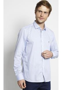Camisa Slim Fit Xadrez - Azul Claro & Branca - Vip Rvip Reserva