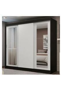 Guarda-Roupa Casal Madesa Kansas 3 Portas De Correr Com Espelhos 3 Gavetas Preto/Branco Cor:Preto/Branco