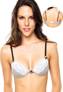 Sutiã Lorie Push-Up Renda Cinza