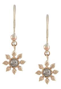 Natalie Perry Par De Brincos Floral De Ouro 9K Com Diamante - Dourado