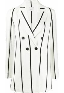 Alysi Blazer Oversized Listrado - Branco
