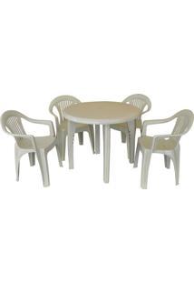 Conjunto Mesa E 4 Cadeiras Poltrona Mariana Branco 3 Jogos