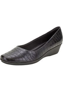 Sapato Feminino Anabela Piccadilly - 143133 Preto/Croco 35