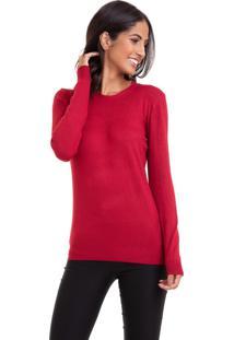 Suéter Kinara Tricot Gola Redonda Vermelho
