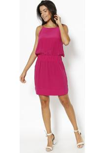 Vestido Em Seda Com Bolsos- Rosa Escuro- Vixvix