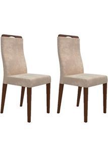Kit 2 Cadeiras Para Sala De Jantar Luciana D08 Suede Bege - Mpozenato