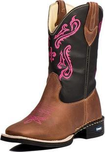 Bota Country Bico Quadrado Cowgirl Cano Longo Campero