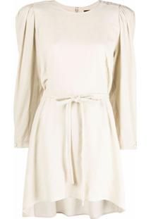 Isabel Marant Vestido Com Amarração Na Cintura - Neutro