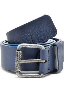Cinto Couro Calvin Klein Textura Azul